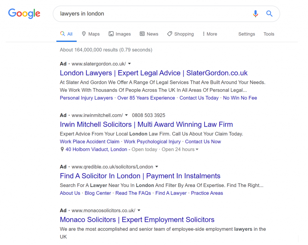 Lawyers In London - Google Ads (Adwords) PPC